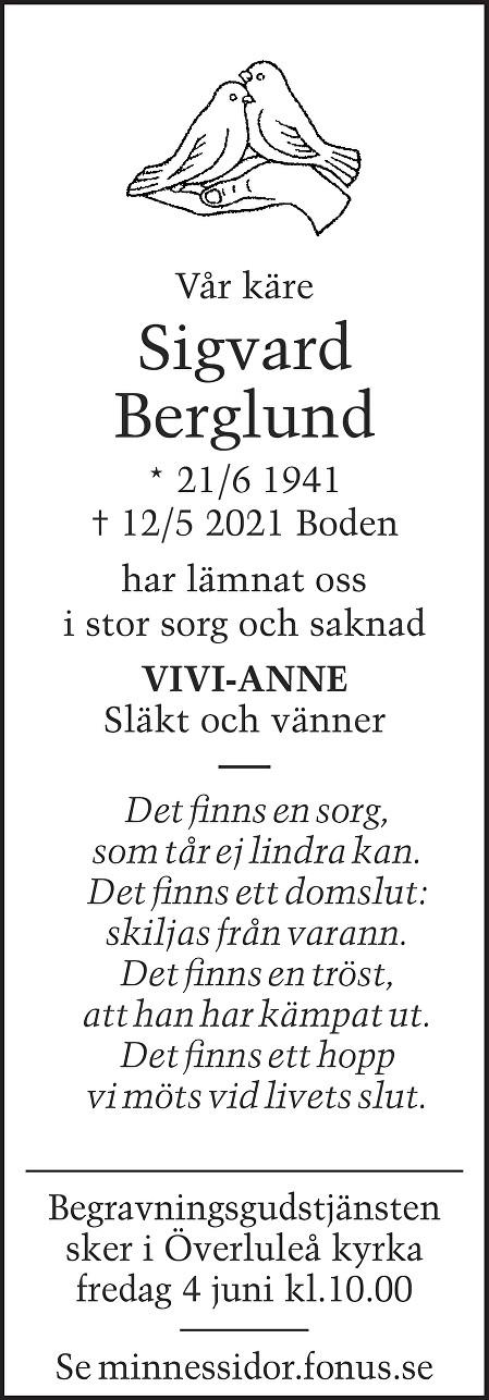 Sigvard Berglund Death notice