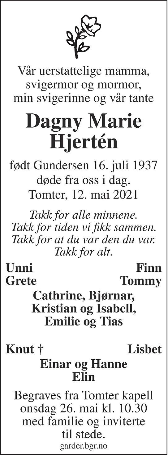 Dagny Marie Hjertén Dødsannonse