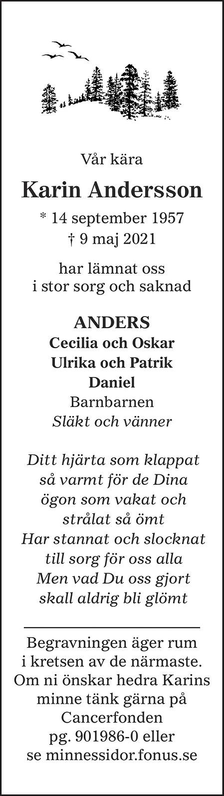 Karin Andersson Death notice