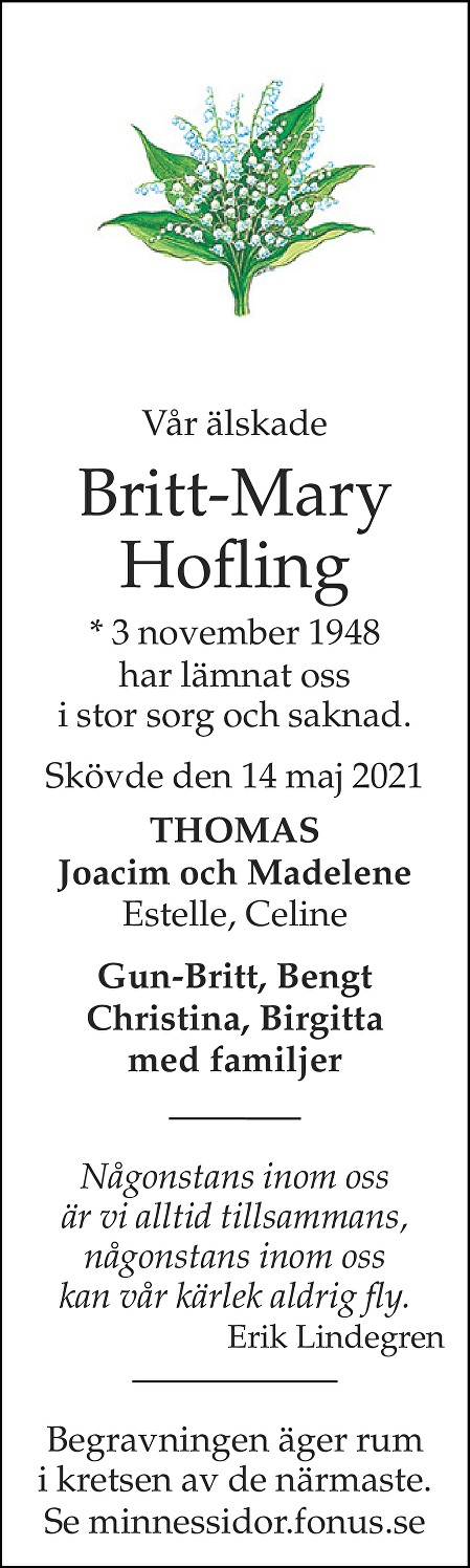 Britt-Mary Hofling Death notice