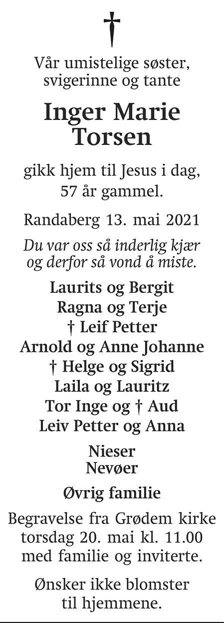 Inger Marie  Torsen Dødsannonse