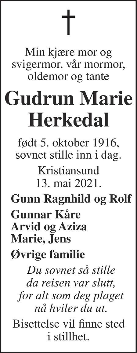 Gudrun Marie Herkedal Dødsannonse