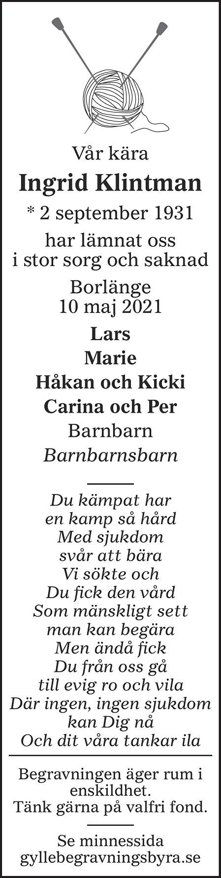 Ingrid Klintman Death notice
