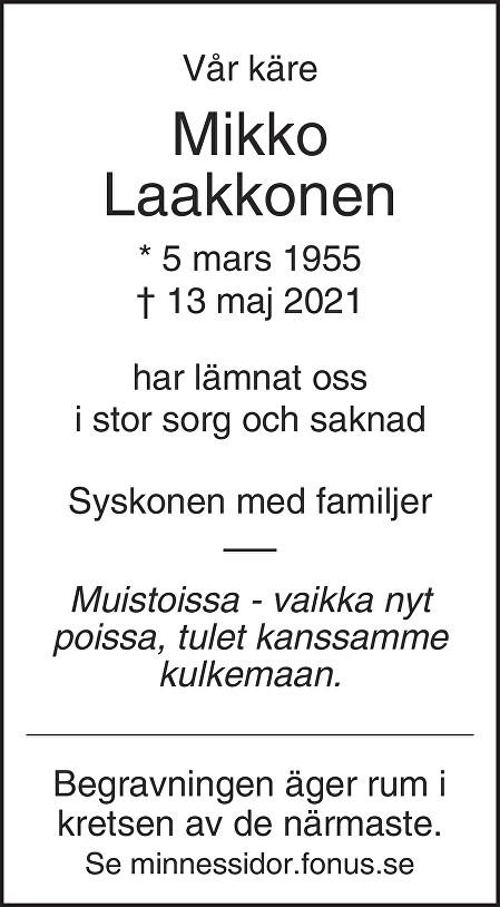 Mikko Laakkonen Death notice