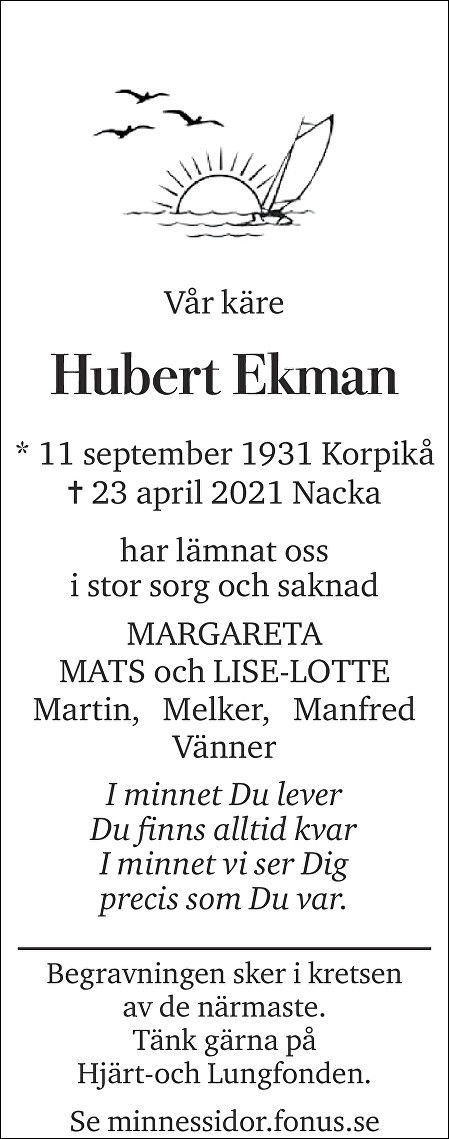 Hubert Ekman Death notice