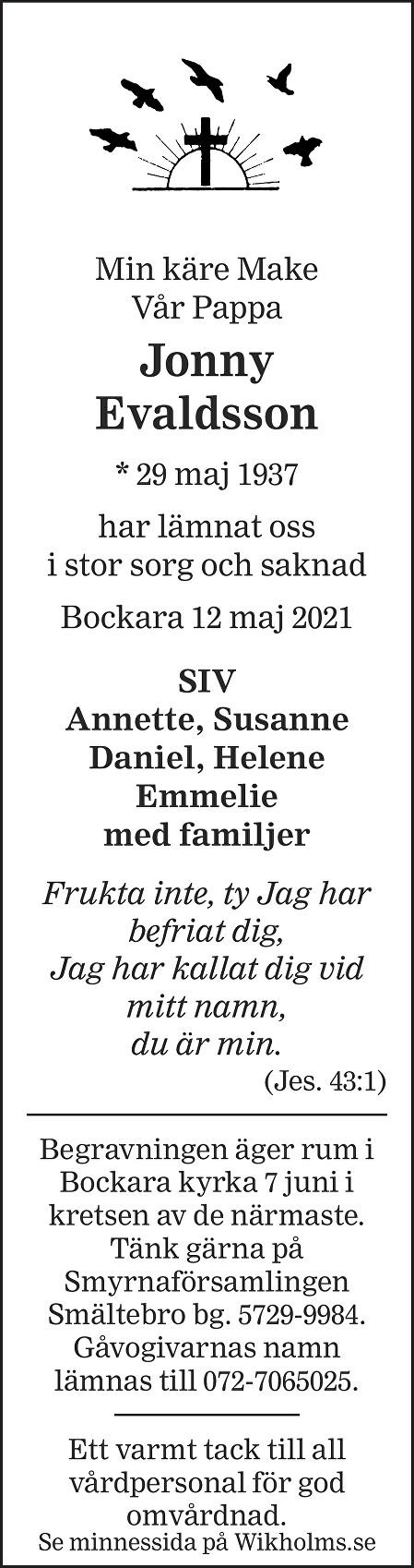Jonny Evaldsson Death notice