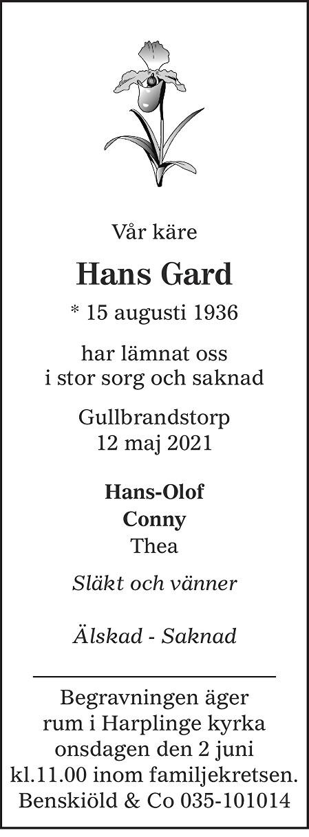Hans  Gard Death notice