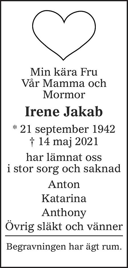 Irene Jakab Death notice