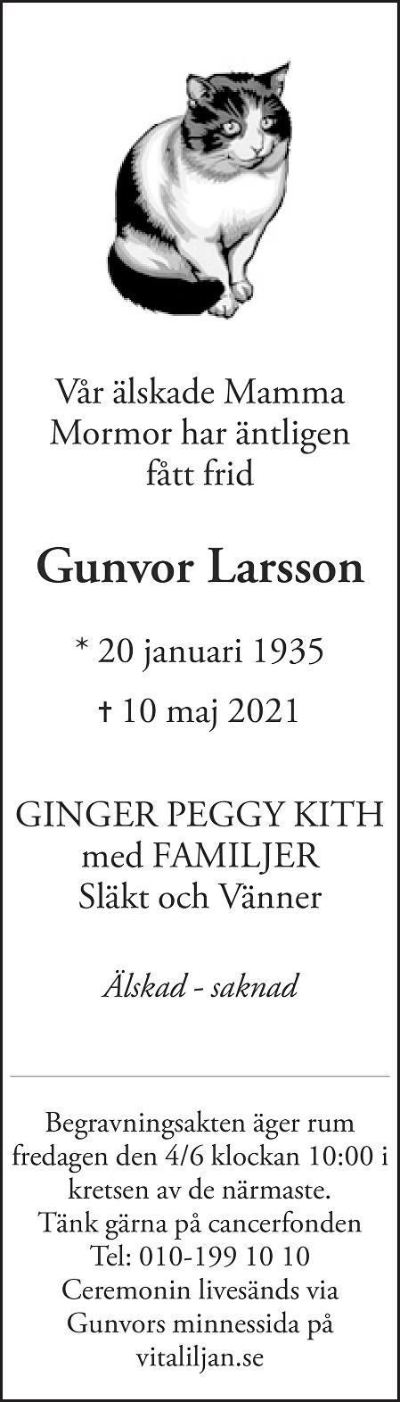 Gunvor  Larsson Death notice