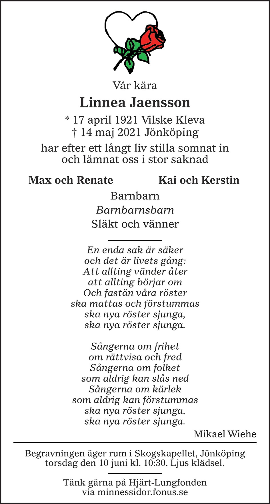 Linnea Jaensson Death notice
