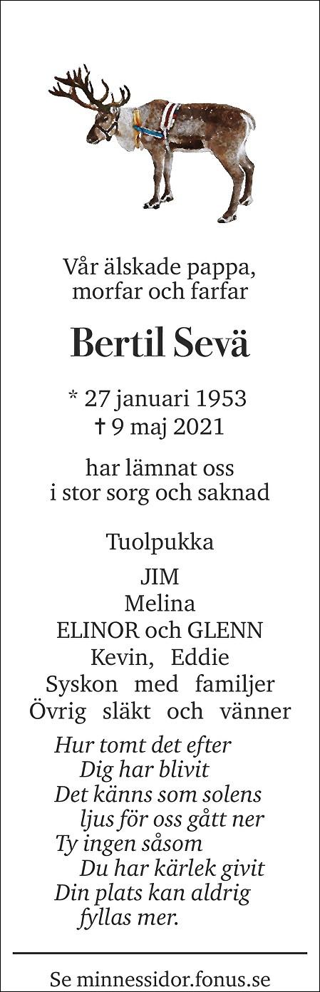 Bertil Sevä Death notice