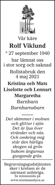 Rolf Viklund Death notice