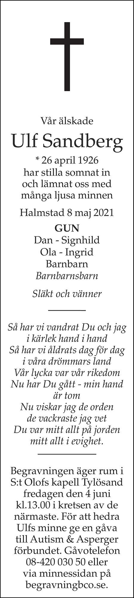 Ulf Sandberg Death notice
