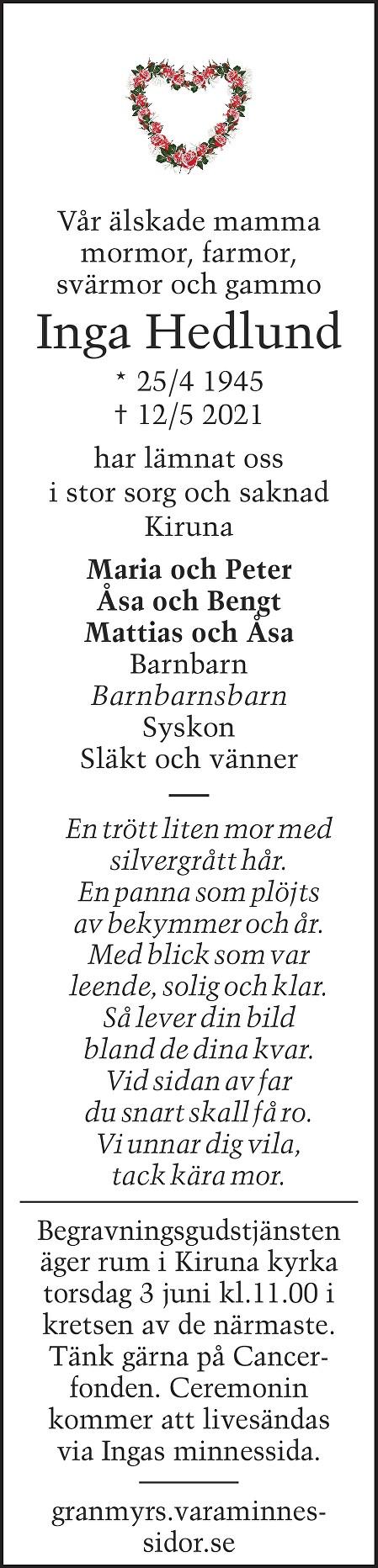 Inga  Hedlund Death notice