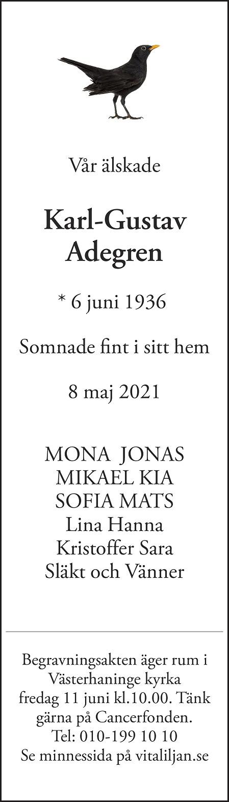 Karl Gustaf Adegren Death notice