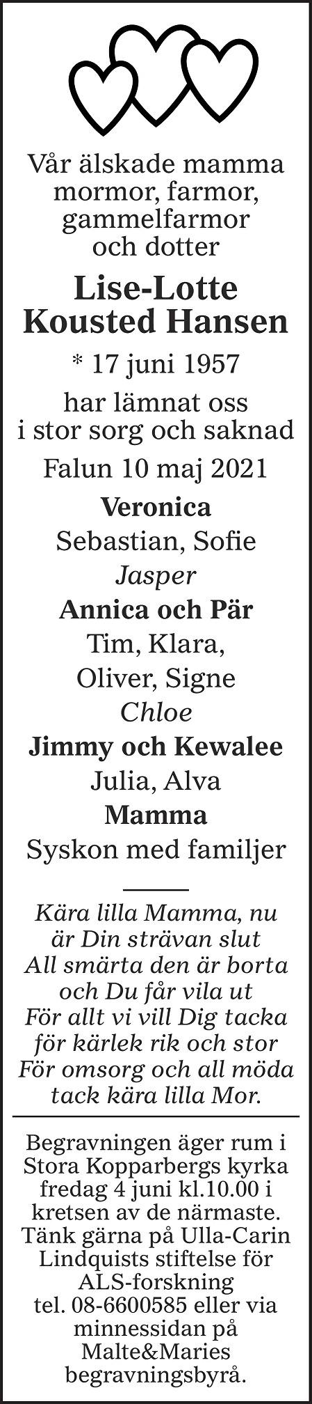 Lise-Lotte Kousted Hansen Death notice