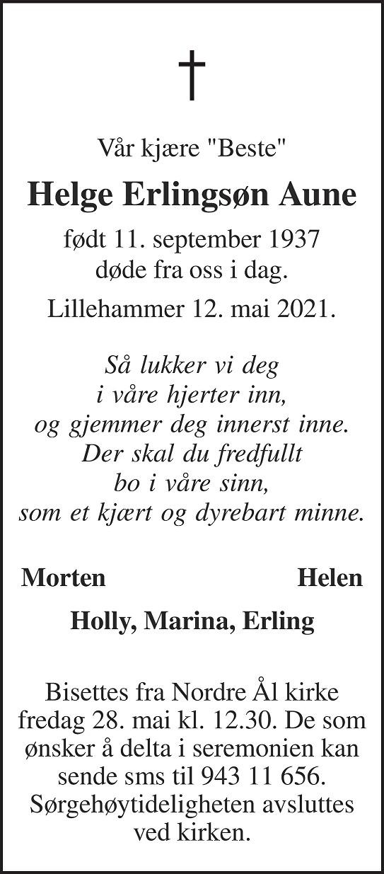 Helge Erlingsøn Aune Dødsannonse