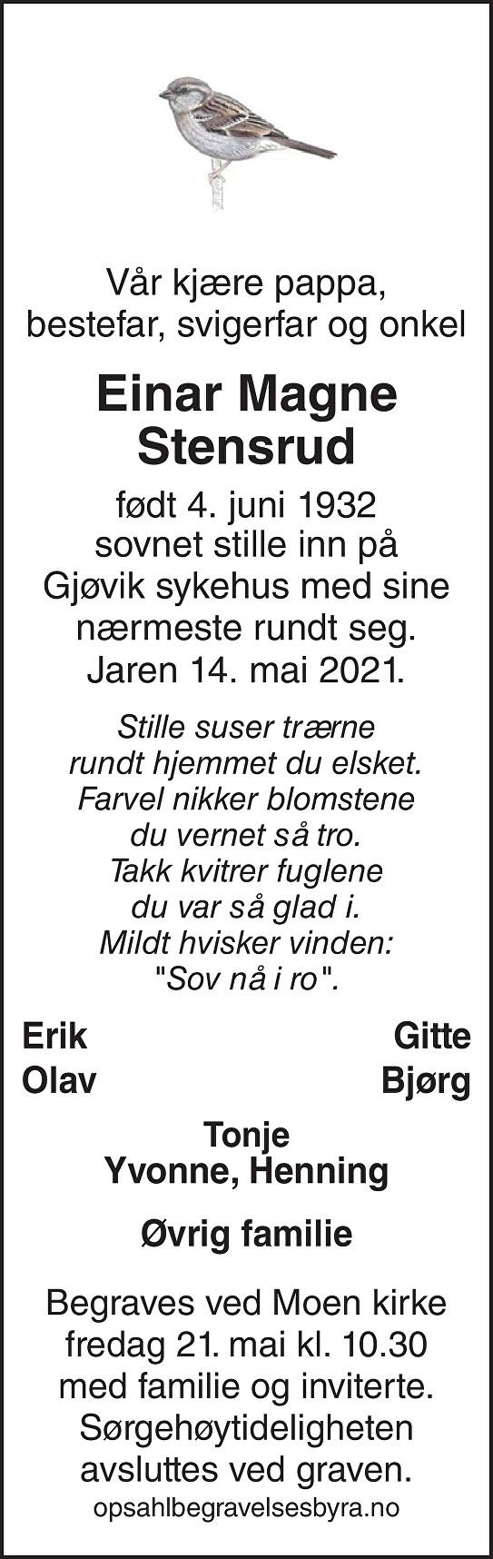 Einar Magne Stensrud Dødsannonse