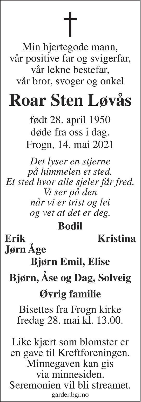 Roar Sten Løvås Dødsannonse