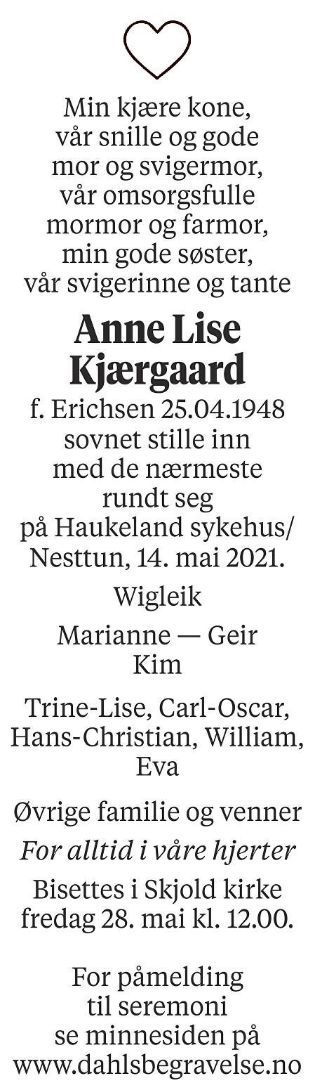 Anne Lise Kjærgaard Dødsannonse