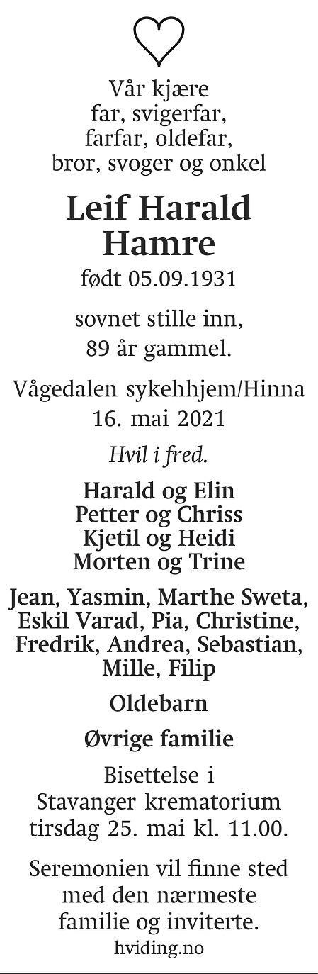 Leif Harald Hamre Dødsannonse