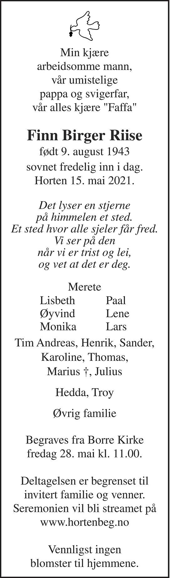 Finn Birger Riise Dødsannonse