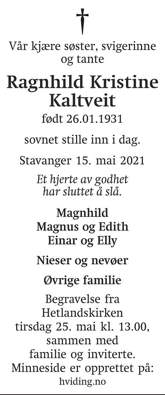 Ragnhild Kristine Kaltveit Dødsannonse