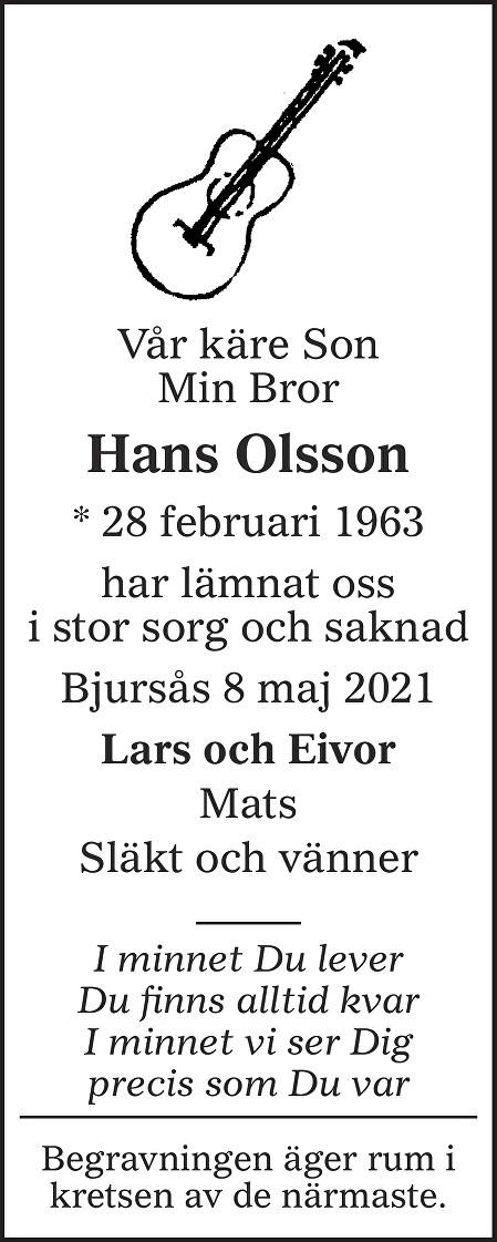 Hans Gunnar Olsson Death notice