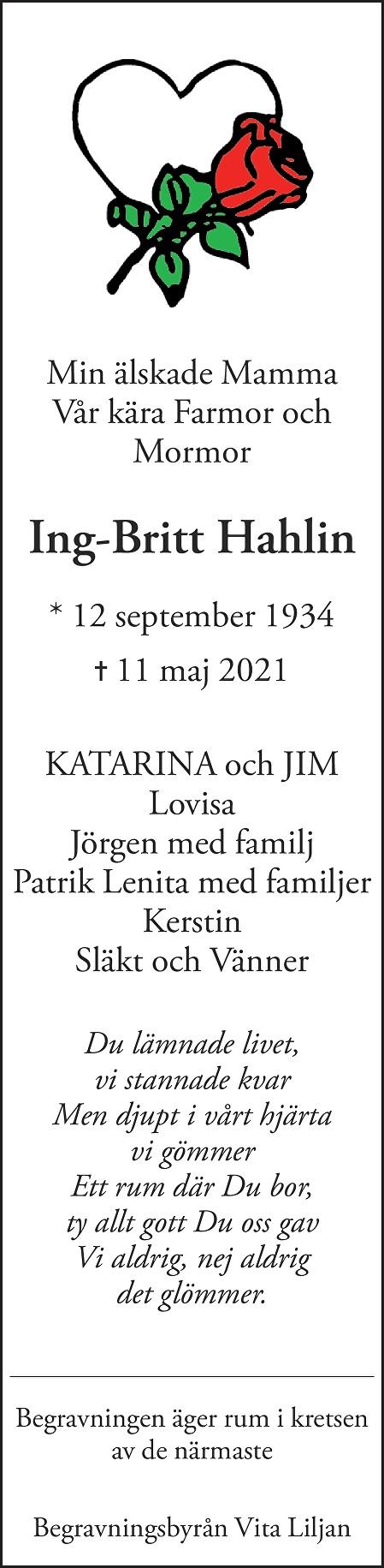 Ing-Britt Hahlin Death notice