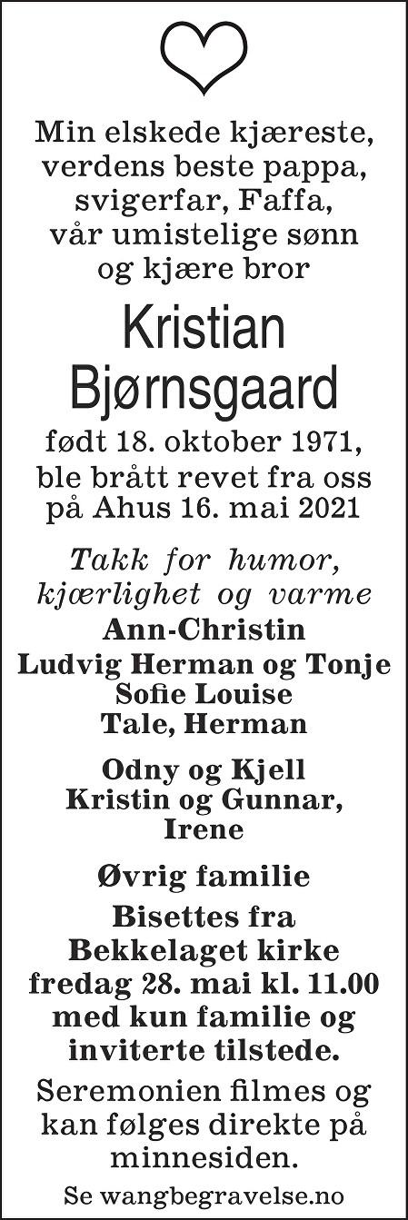 Kristian Bjørnsgaard Dødsannonse