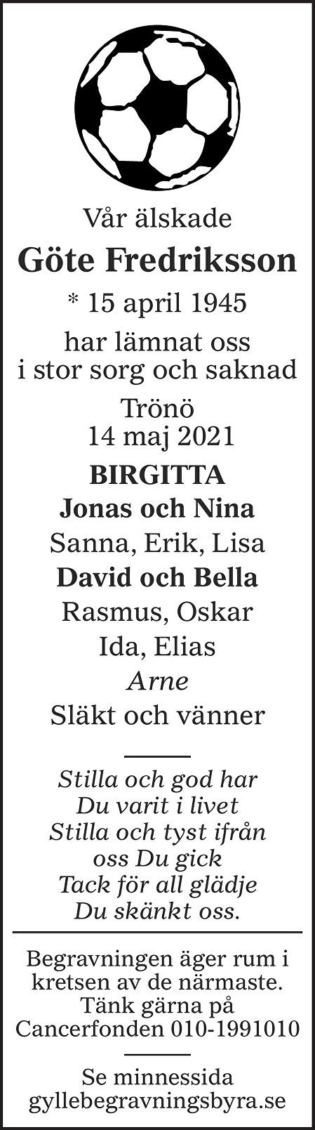 Göte Fredriksson Death notice