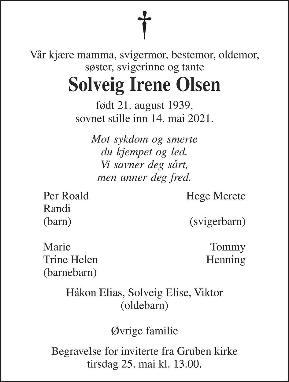 Solveig Irene Olsen Dødsannonse