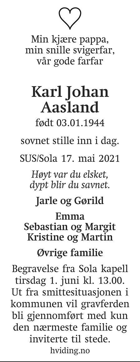 Karl Johan  Aasland Dødsannonse