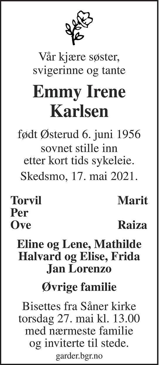 Emmy Irene Karlsen Dødsannonse