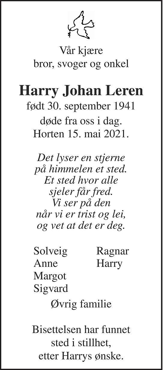 Harry Johan Leren Dødsannonse