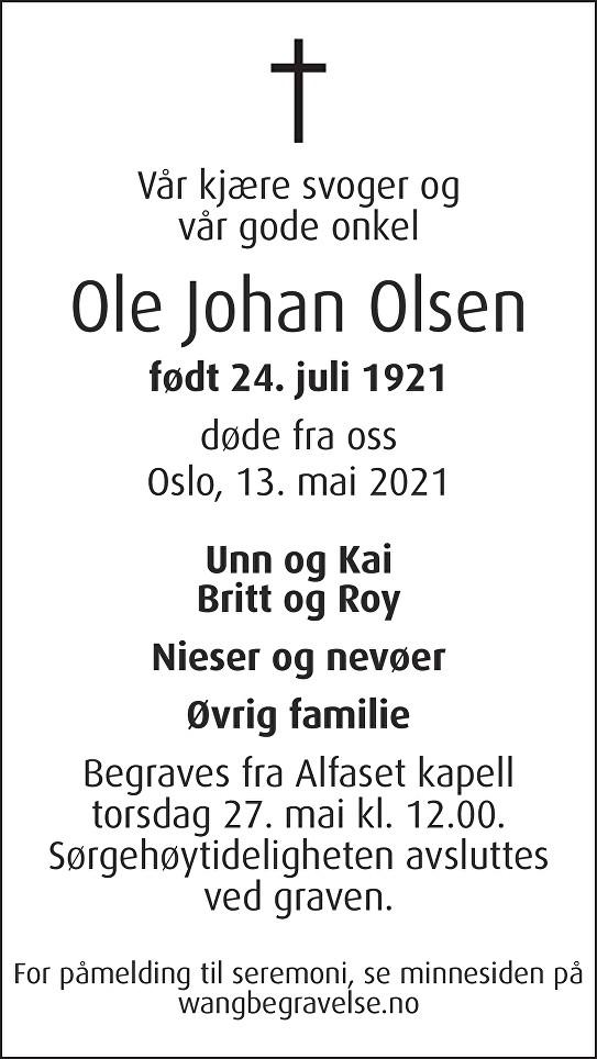 Ole Johan Olsen Dødsannonse