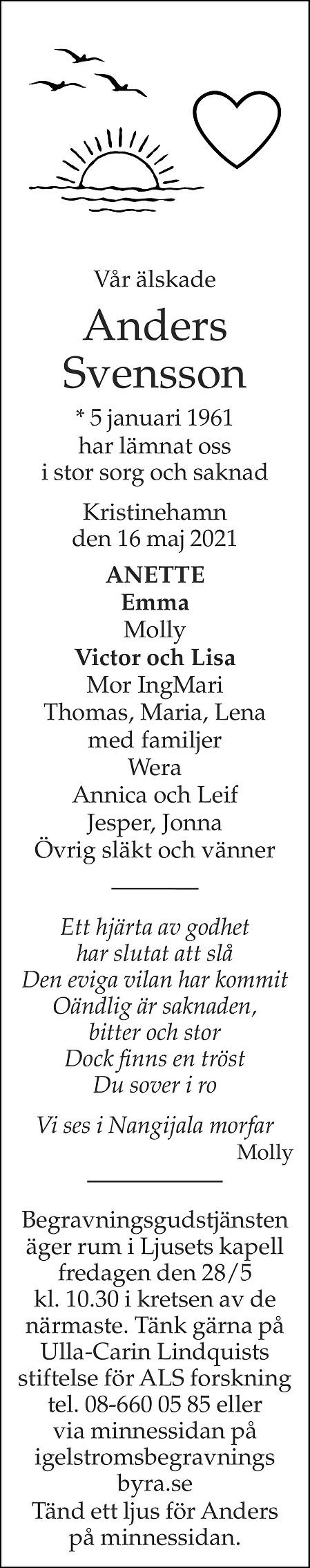 Anders Svensson Death notice