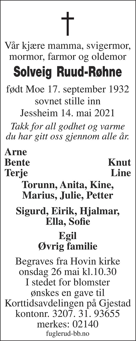 Solveig Ruud-Røhne Dødsannonse