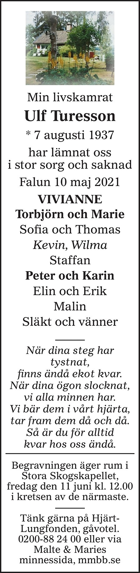 Ulf Turesson Death notice