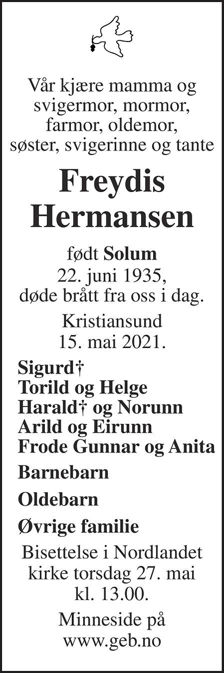 Freydis Hermansen Dødsannonse