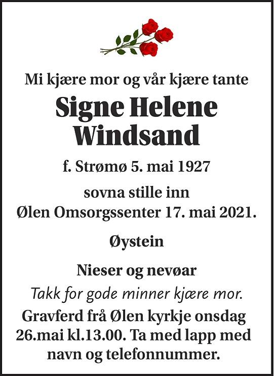 Signe Helene Windsand Dødsannonse