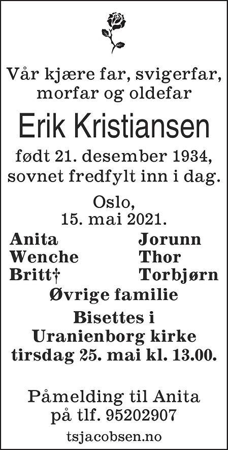 Erik Kristiansen Dødsannonse