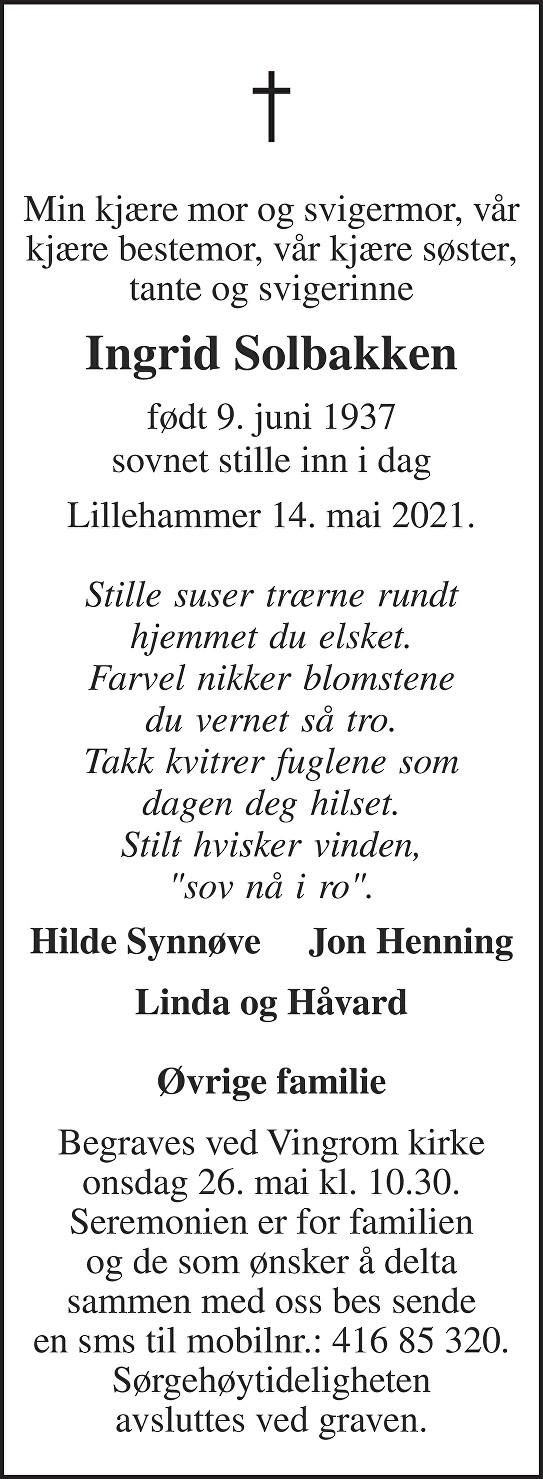 Ingrid Solbakken Dødsannonse
