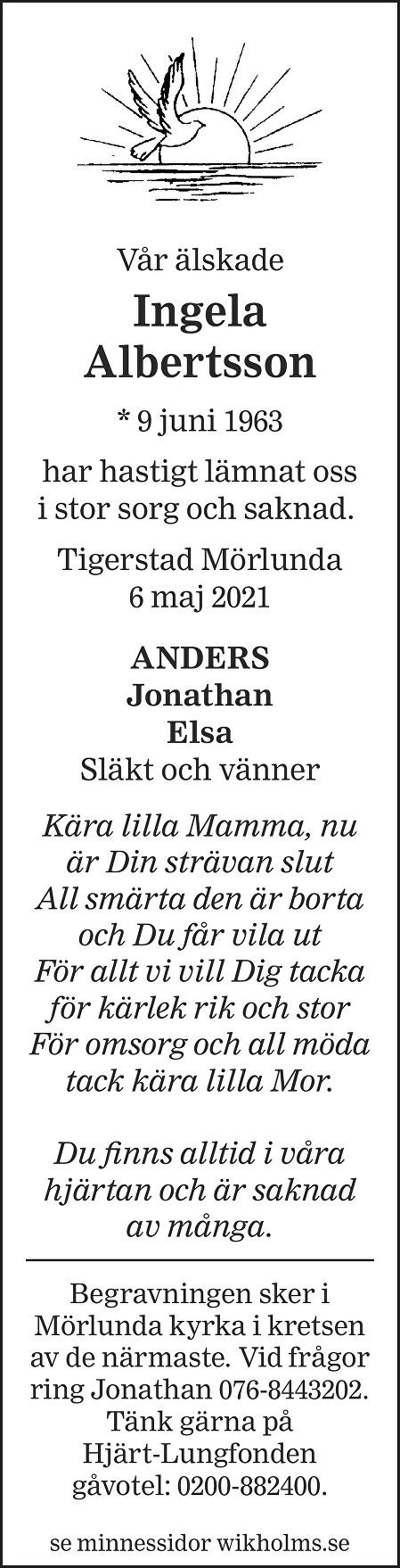 Ingela  Albertsson Death notice