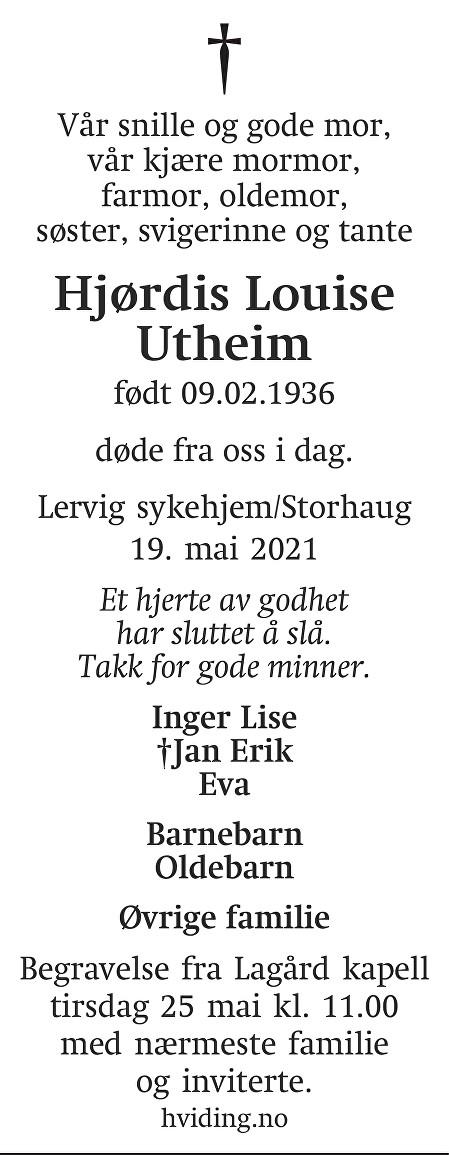 Hjørdis Louise Utheim Dødsannonse