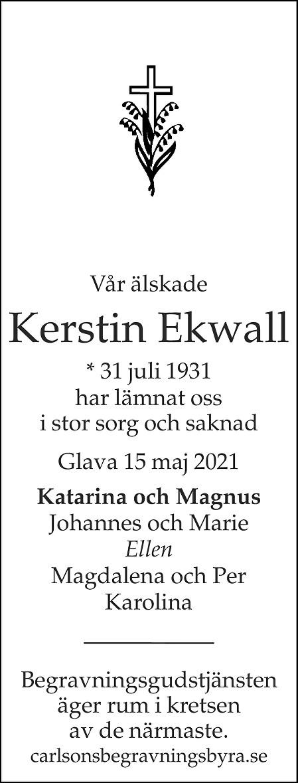 Kerstin Ekvall Death notice