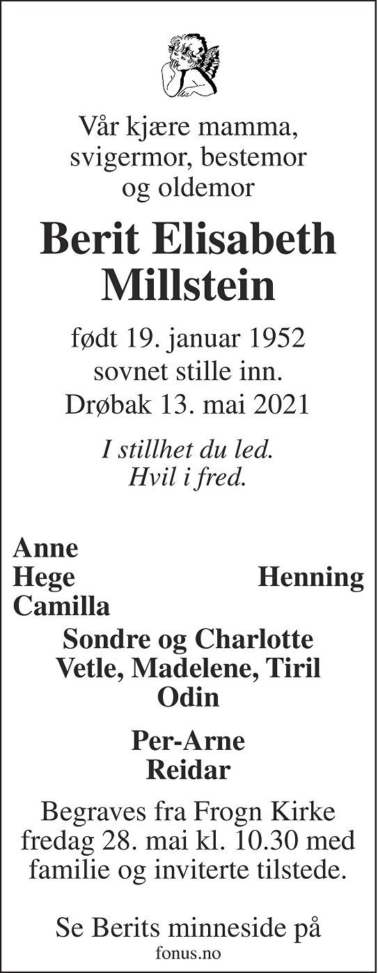Berit Elisabeth Millstein Dødsannonse