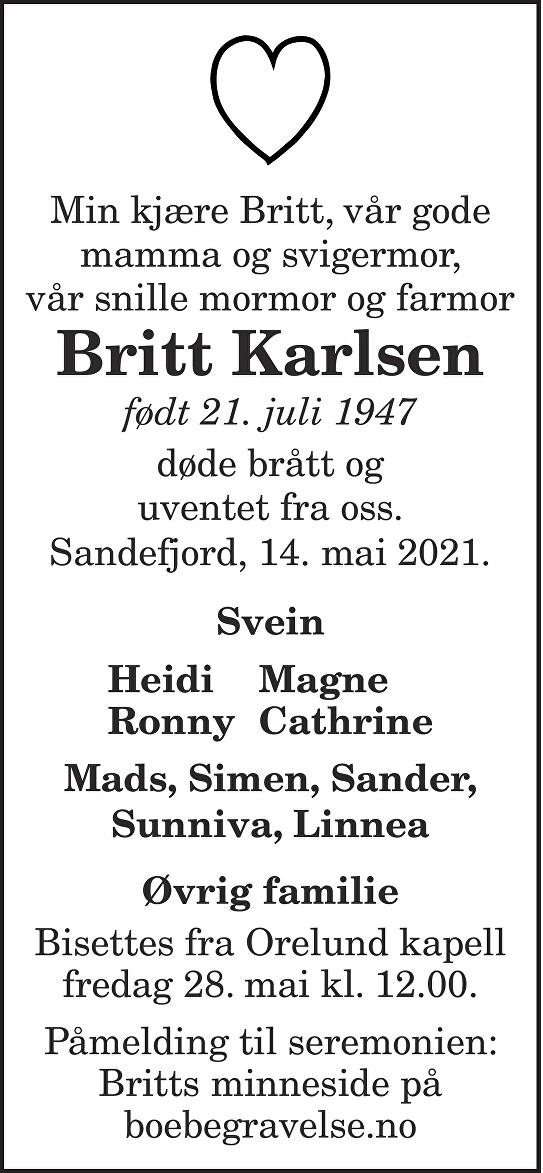 Britt Karlsen Dødsannonse