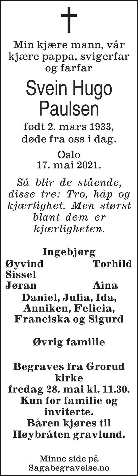 Svein Hugo  Paulsen Dødsannonse