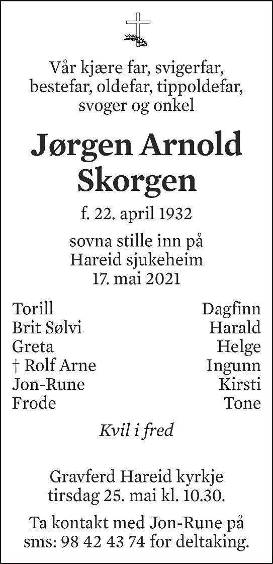Jørgen Arnold Skorgen Dødsannonse